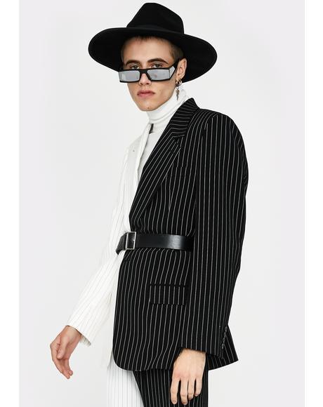 Spliced Black & White Pinstripe Blazer