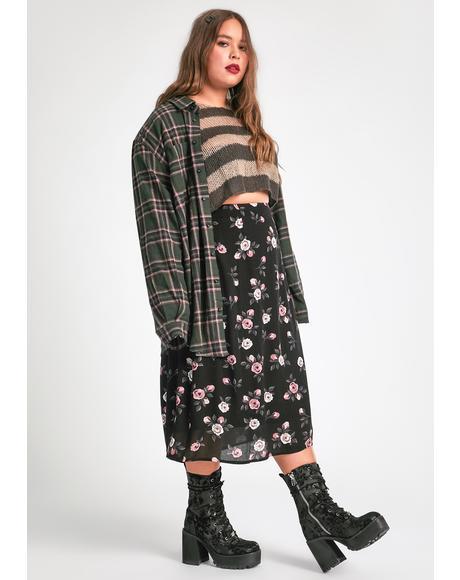 Always Erase And Rewind Midi Skirt