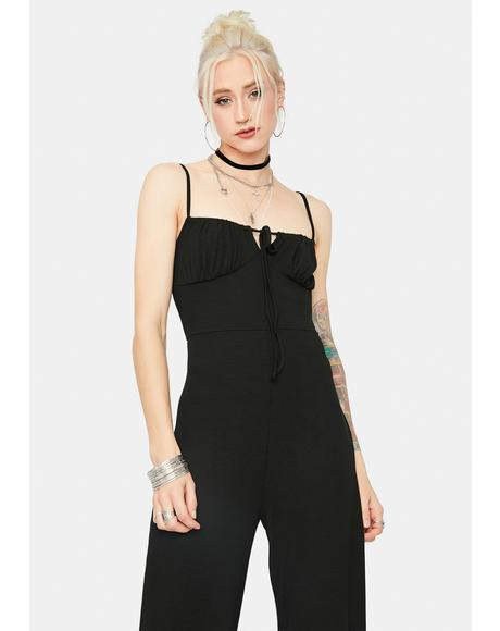 Ready Or Not Ribbed Tie Front Jumpsuit