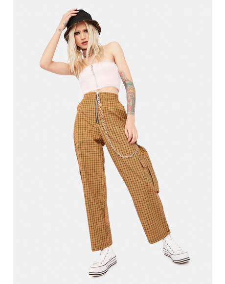 Pattern Plaid Cargo Pants