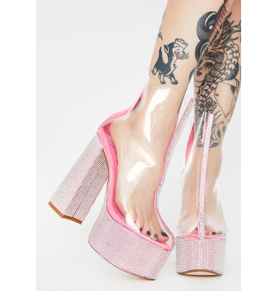 Lemon Drop by Privileged Pink Brandie Rhinestone Heels