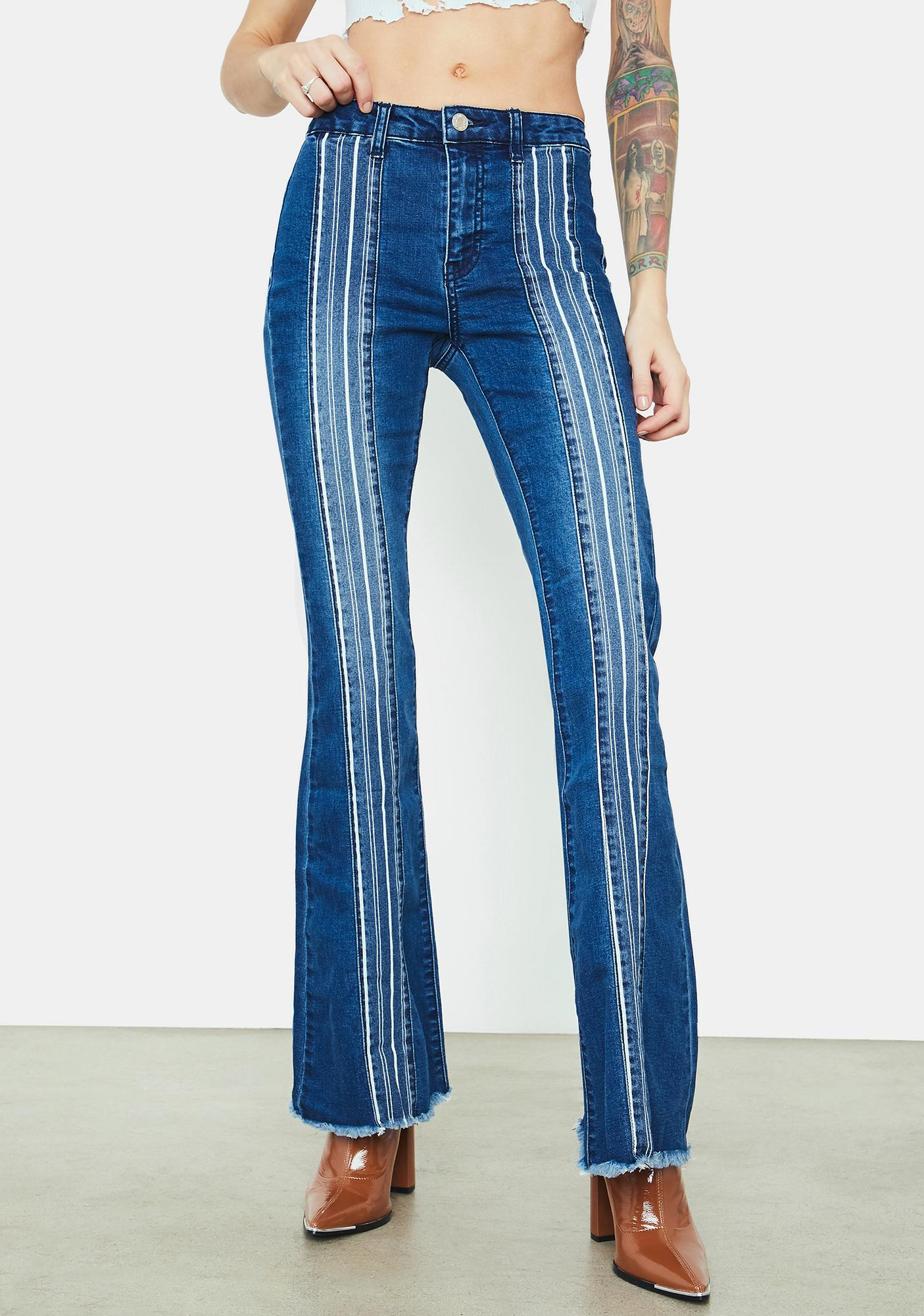 Retro Bae Striped Patch Flare Jeans