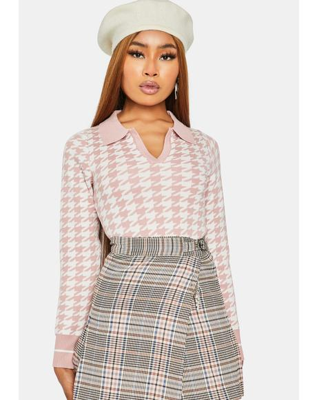 Sweet So True Bestie Houndstooth Collared Sweater