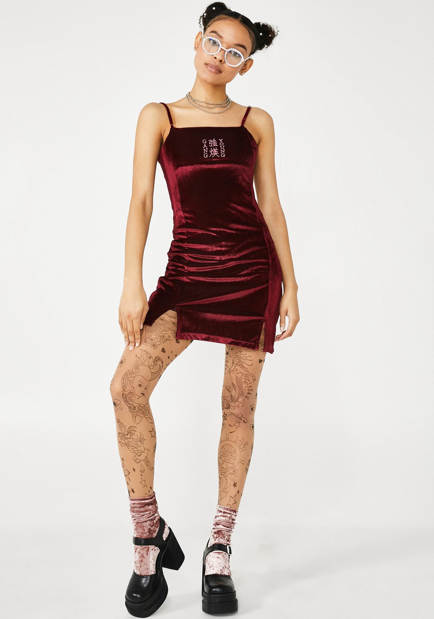 GANGYOUNG Wine Soft Velvet Dress