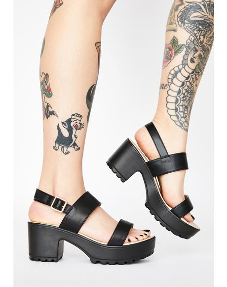 Black Cleated Platform Sandals