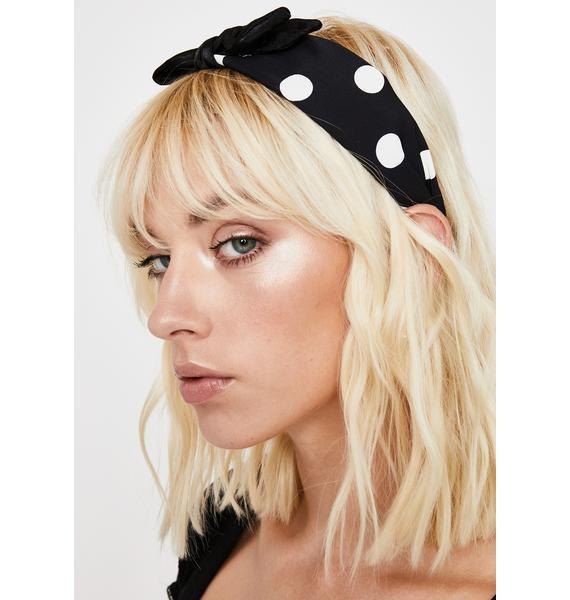 Ink Bow Peep Polka Dot Headband