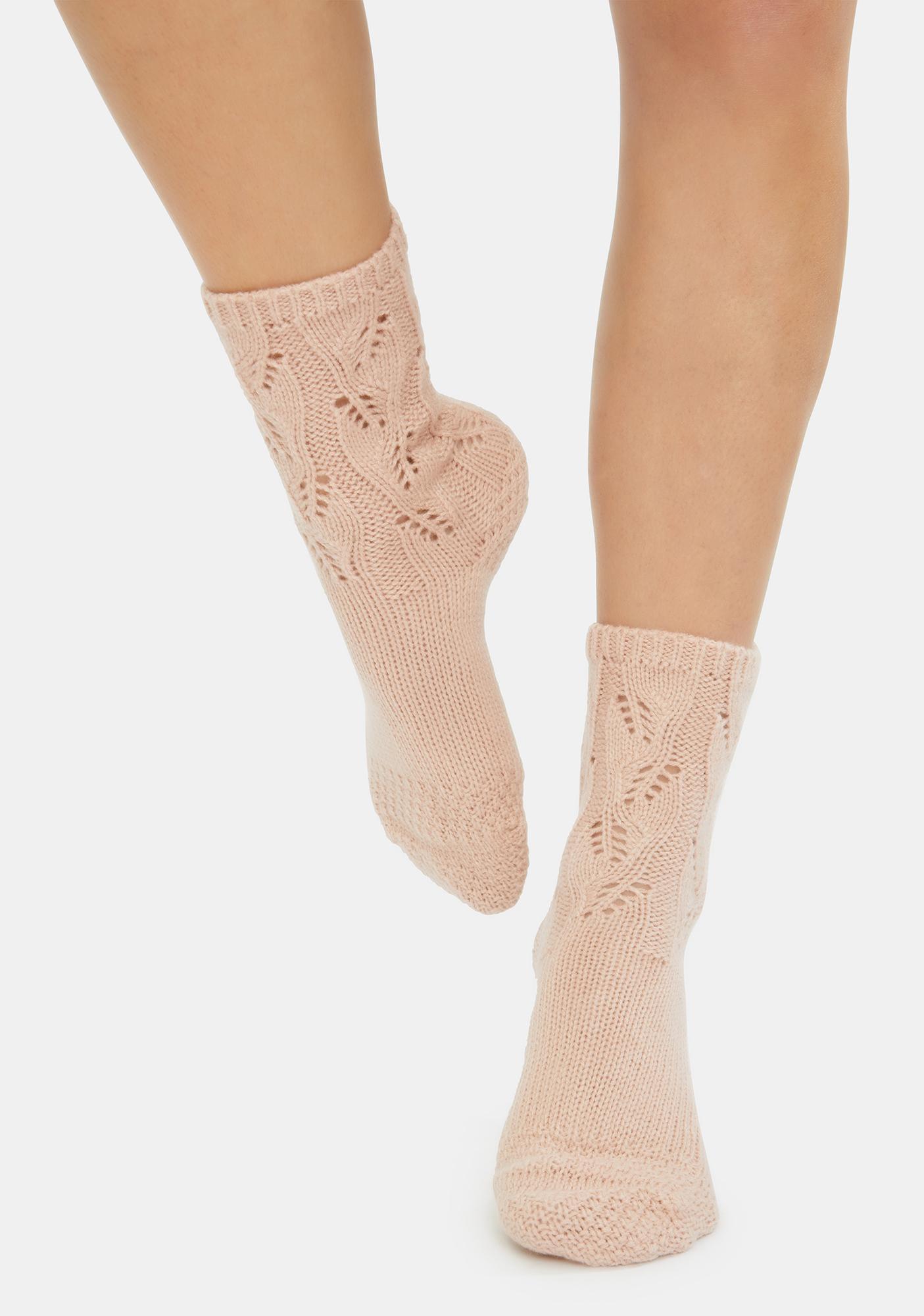 MeMoi Blush No Place Like Home Pointelle Crew Socks