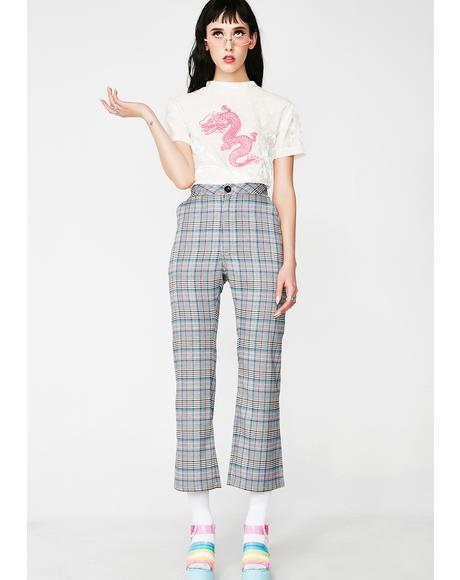 Check Kick Flare Trousers