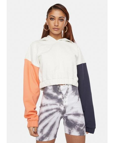 Contrast Cropped Hoodie