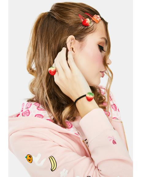 Got That Yummy Strawberry Hair Clip And Ring Set