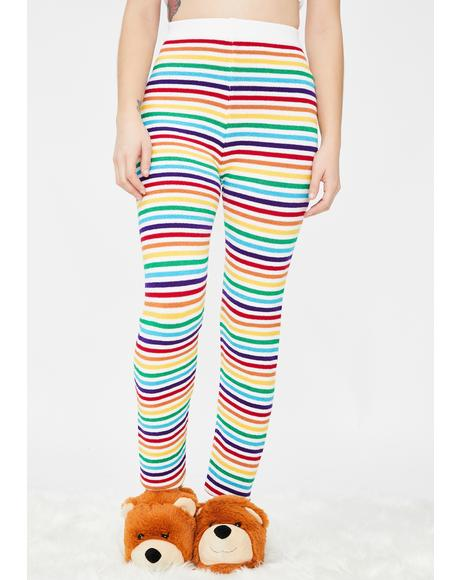 Rainbow Stripes Knit Leggings