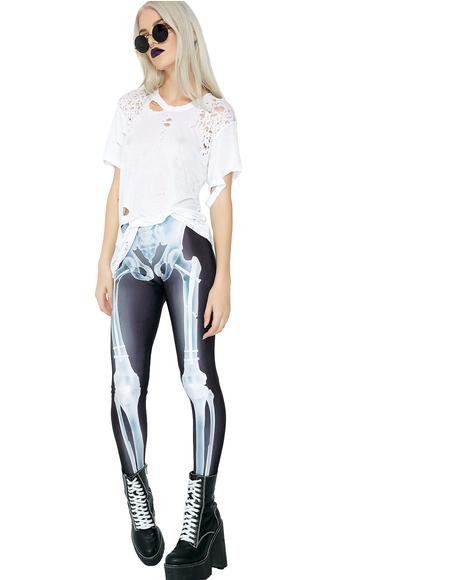 Blue Glow X-Ray Skeleton Leggings