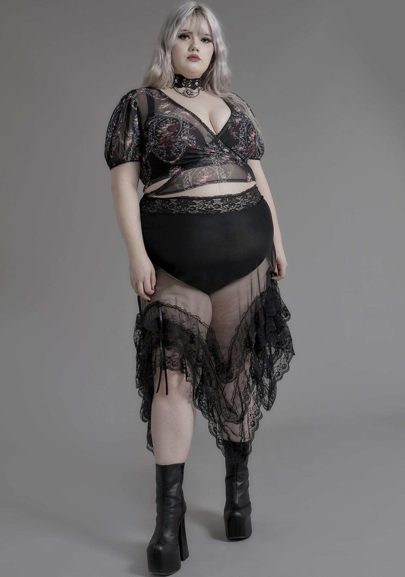 Widow Total Nightshade Lace Midi Skirt