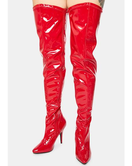 What I Deserve Patent Thigh High Boots