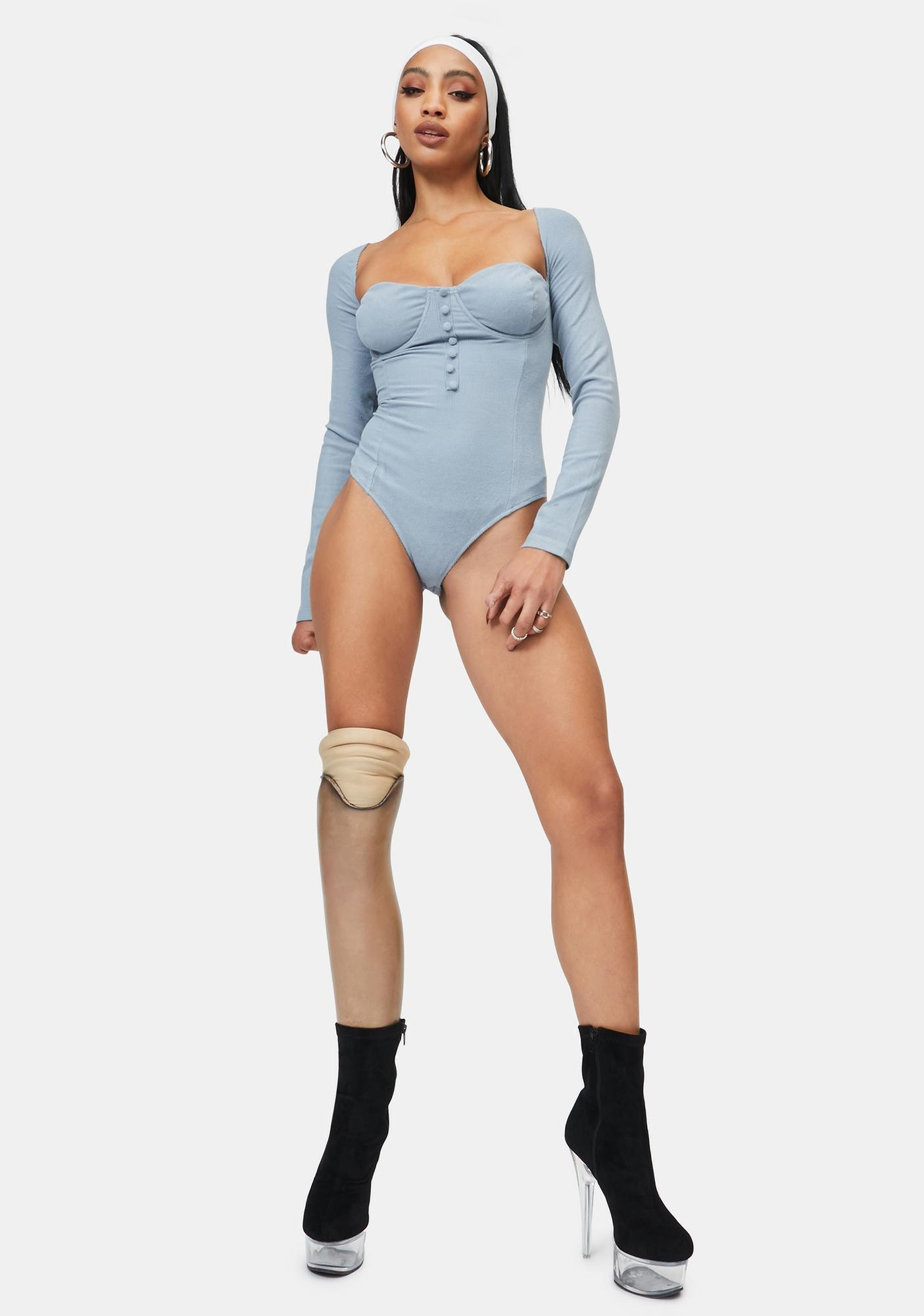 4TH & RECKLESS Blue Malone Knit Bodysuit