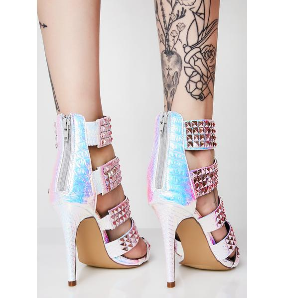 Candy Acting Nonchalant Studded Heels