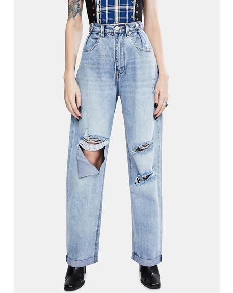 Forever Blue High Waist Wide Leg Jeans