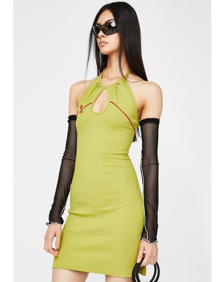 Green V Dress