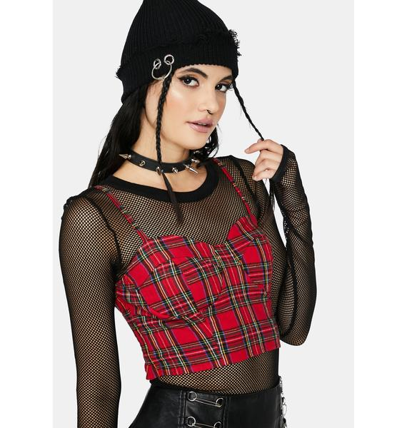 Punk Rules Plaid Bustier Crop Top