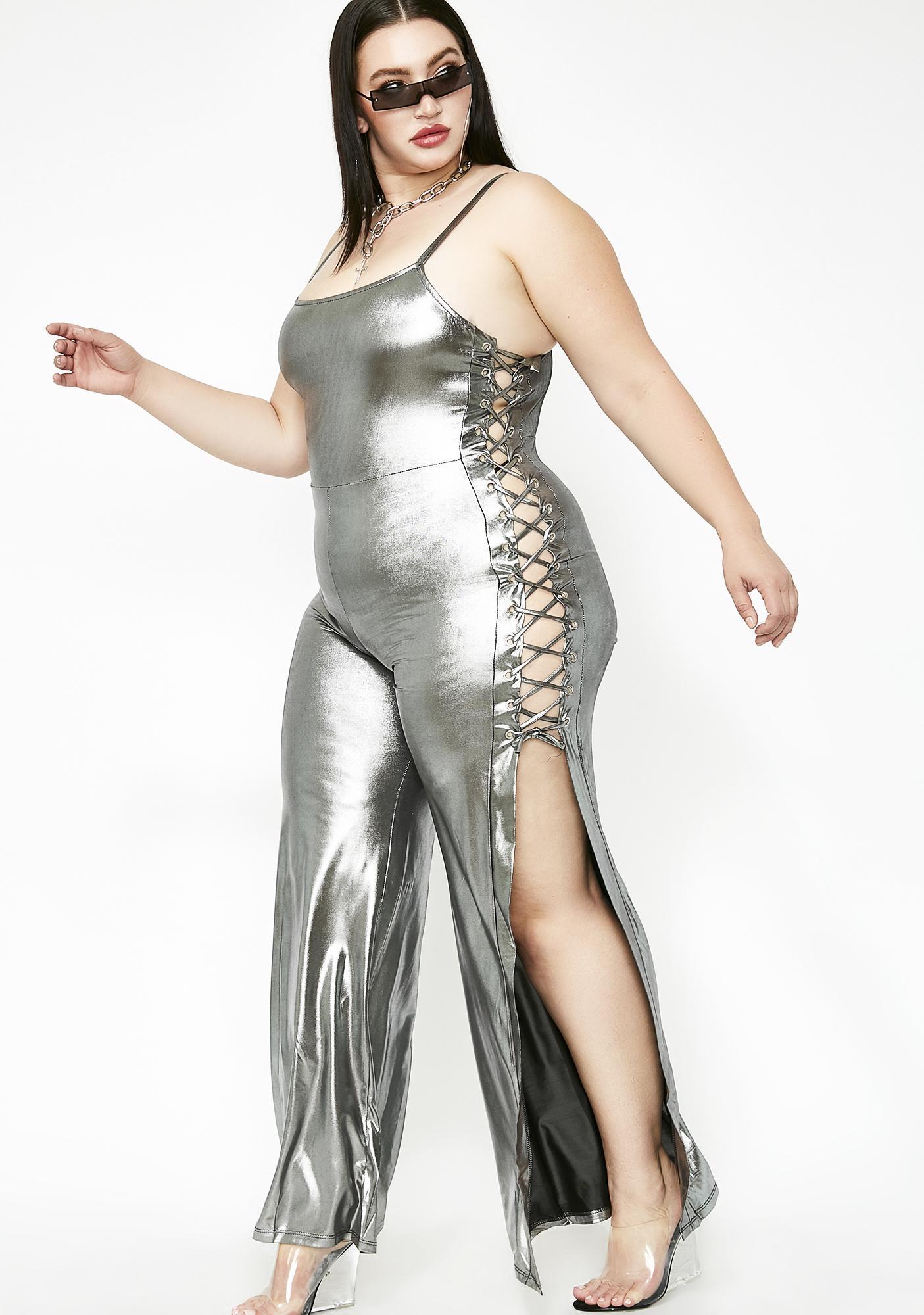 1cb8cc084fe Plus Size Lace Up Metallic Wide Leg Jumpsuit