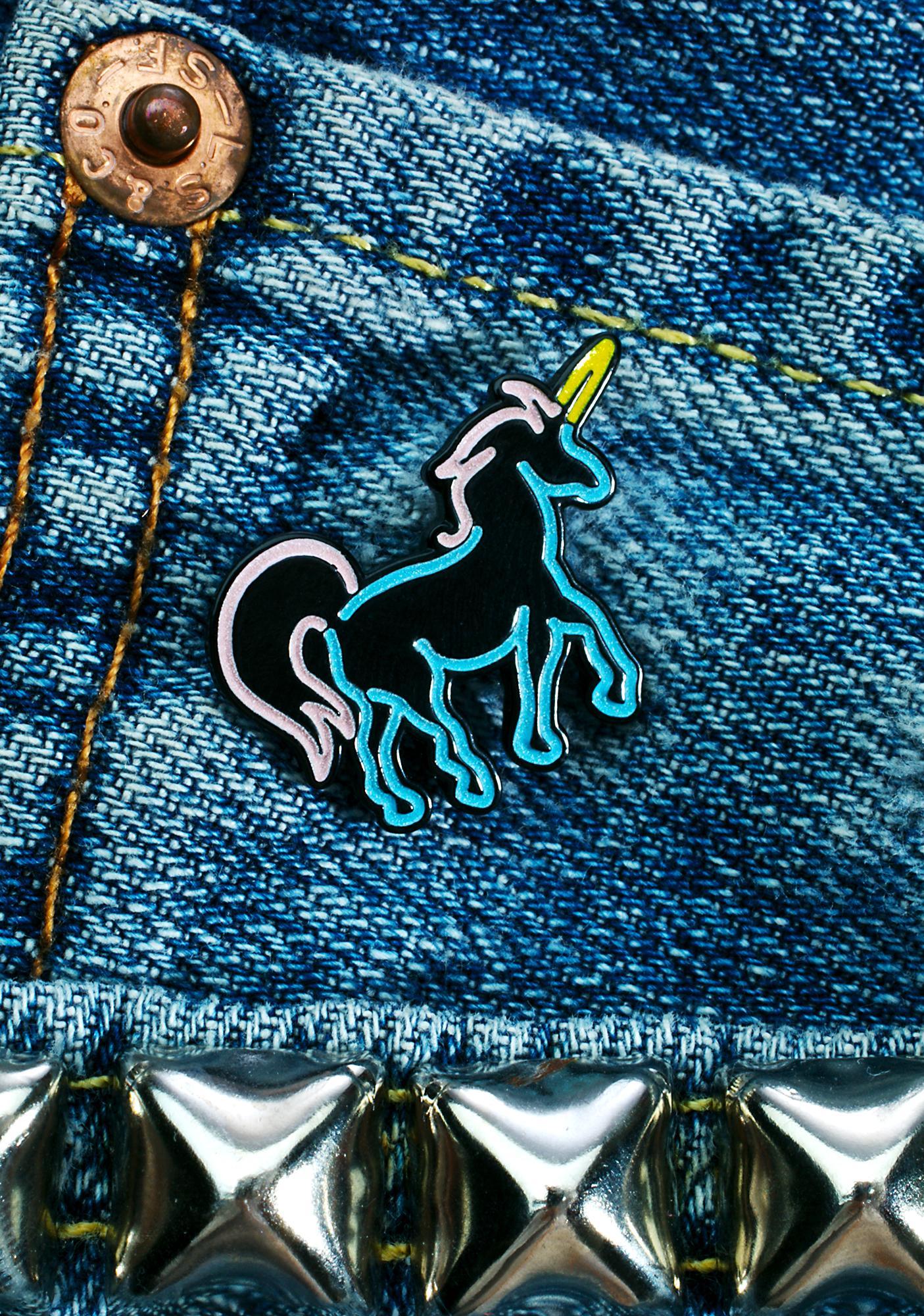 Laser Kitten Neon Unicorn Pin