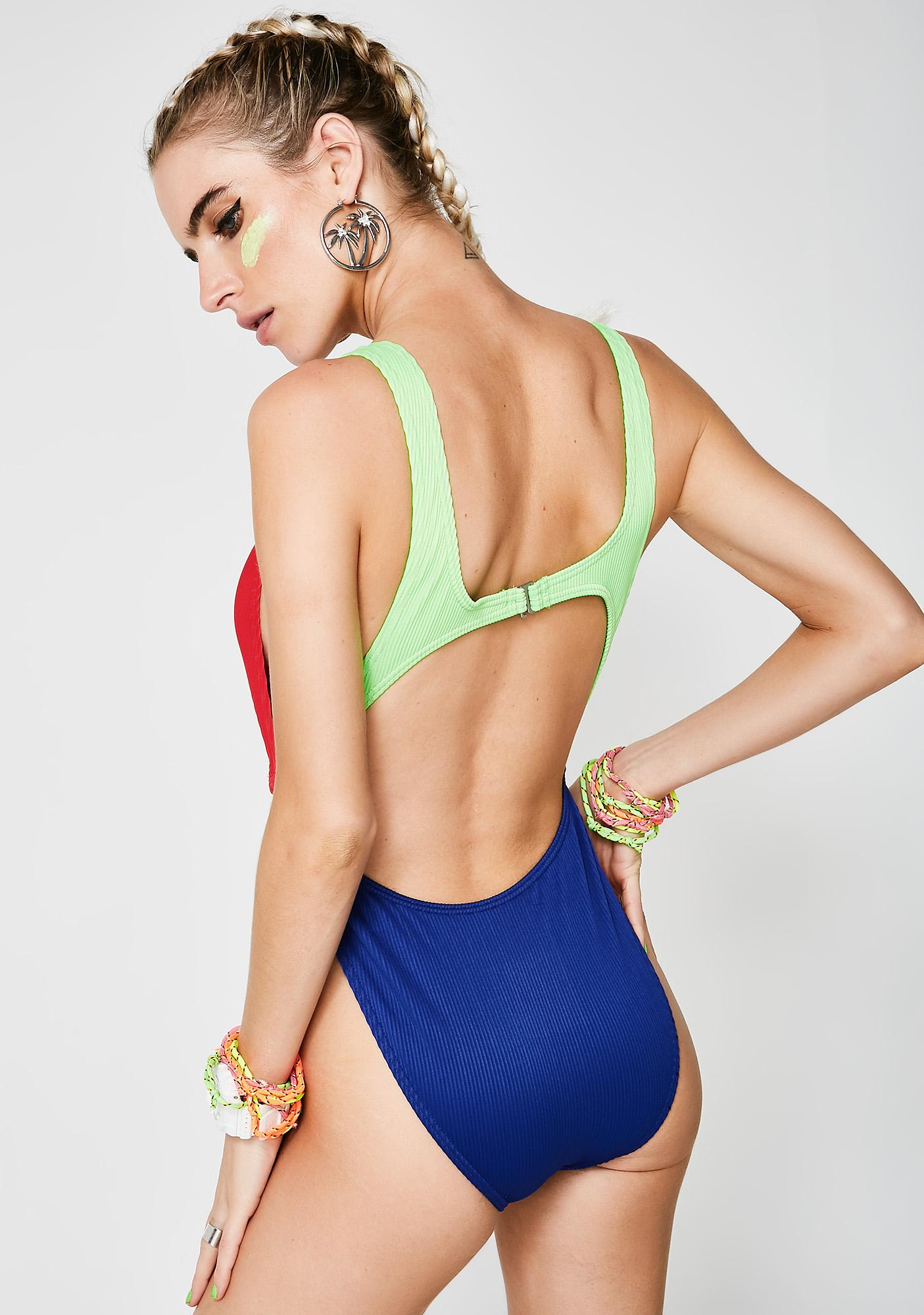 Current Mood Make Waves Cut-Out One Piece
