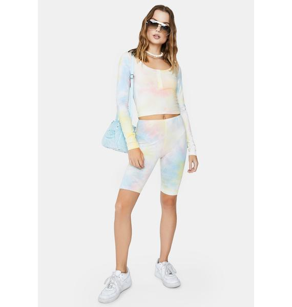 Re Named Molly Tie Dye Biker Shorts