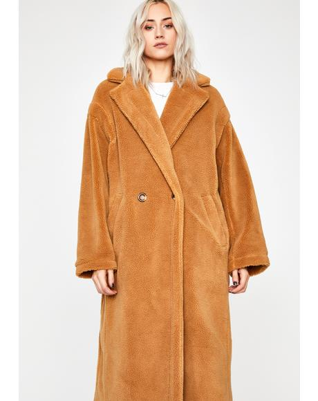 Beary Cozy Sherpa Trench Coat