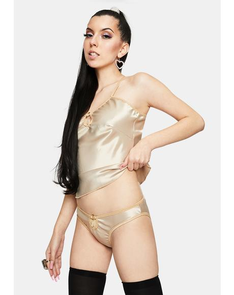 Champagne M Satin Gemstone Lingerie Set