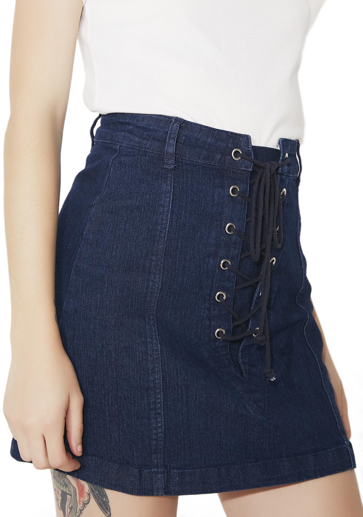 High Waist A-Line Lace-Up Denim Skirt Blue