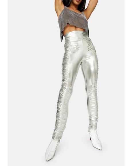 See Me Slaying Metallic Ruched Skinny Pants