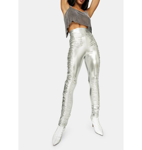 See Me Slaying Metallic Ruched Skinny Pants