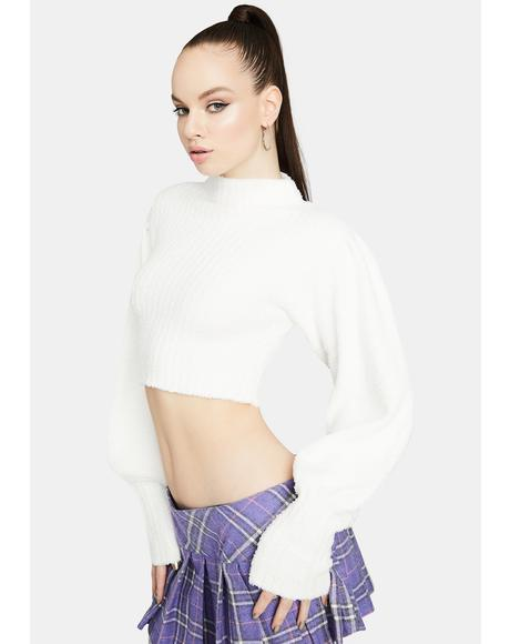 Icy All The Feels Bell Sleeve Cropped Turtleneck