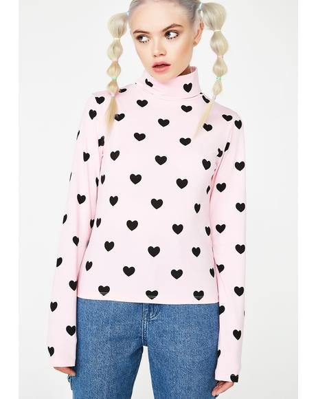 Little Hearts High Neck Top