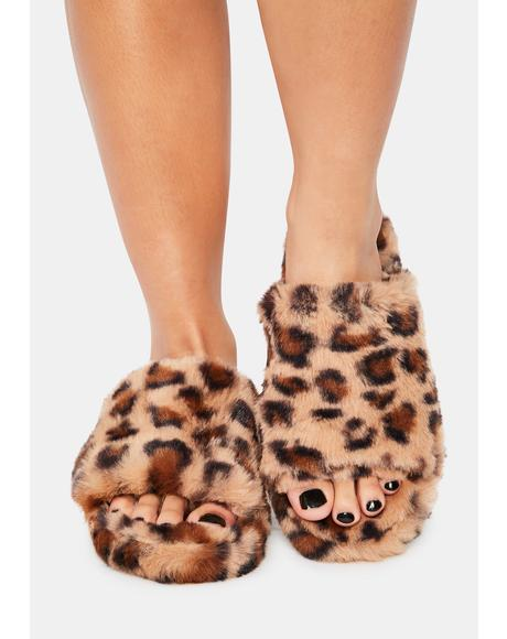Kitty Comfort Kisses Faux Fur Slippers