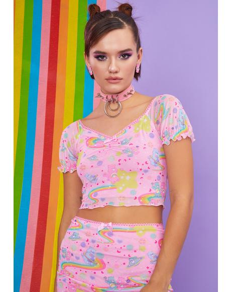 Rainbow Ride Mesh Top