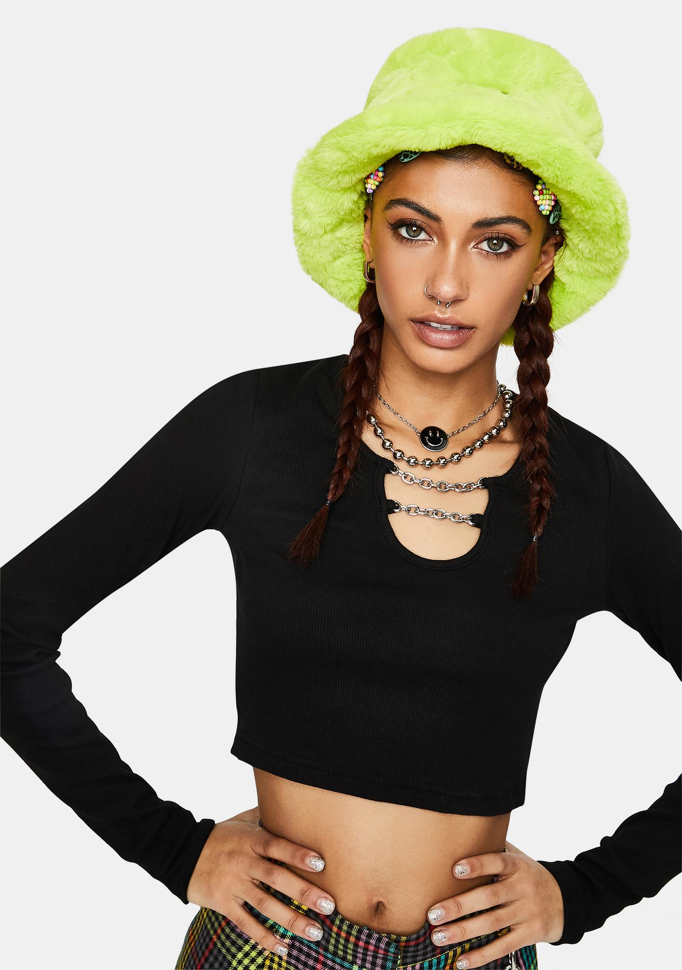 The Ragged Priest Enigma Ribbed Chain Crop Top