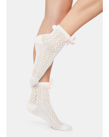 Bunny Beauty Bow Crew Socks