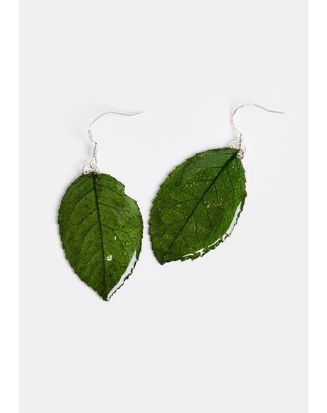 Forest Fairy Leaf Resin Earrings
