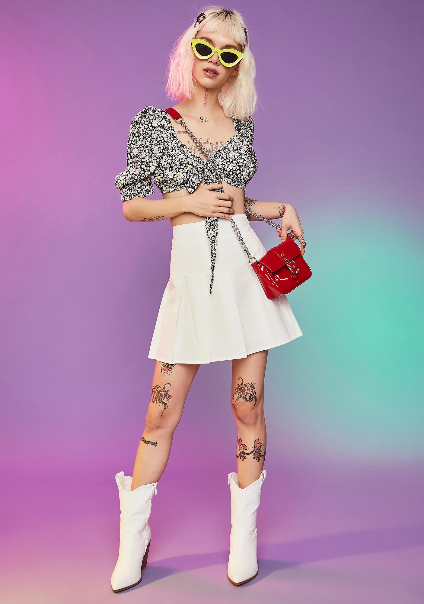 Ferris Wheelin' Poplin Pleated Mini Skirt