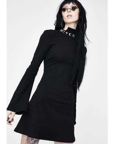 Witch Trumpet Sleeve Skater Dress
