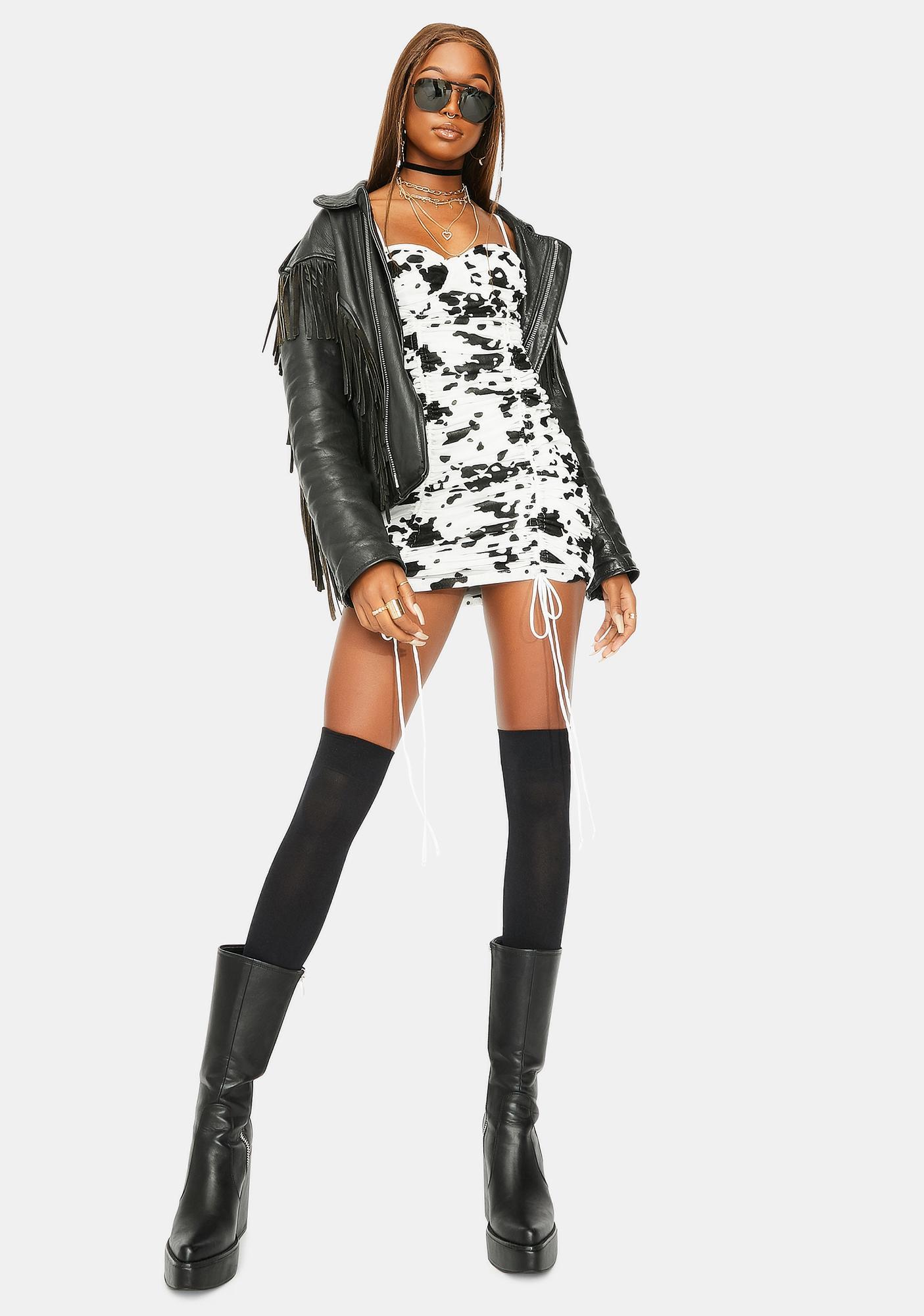 Motel Flock Dalmatian Jemora Mini Dress