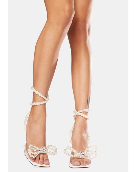 White Glimmer Wrap Around Pearl Bow Heels
