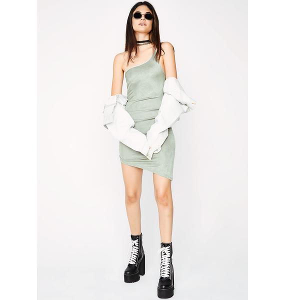 Sage Top Of The Line Asymmetrical Dress
