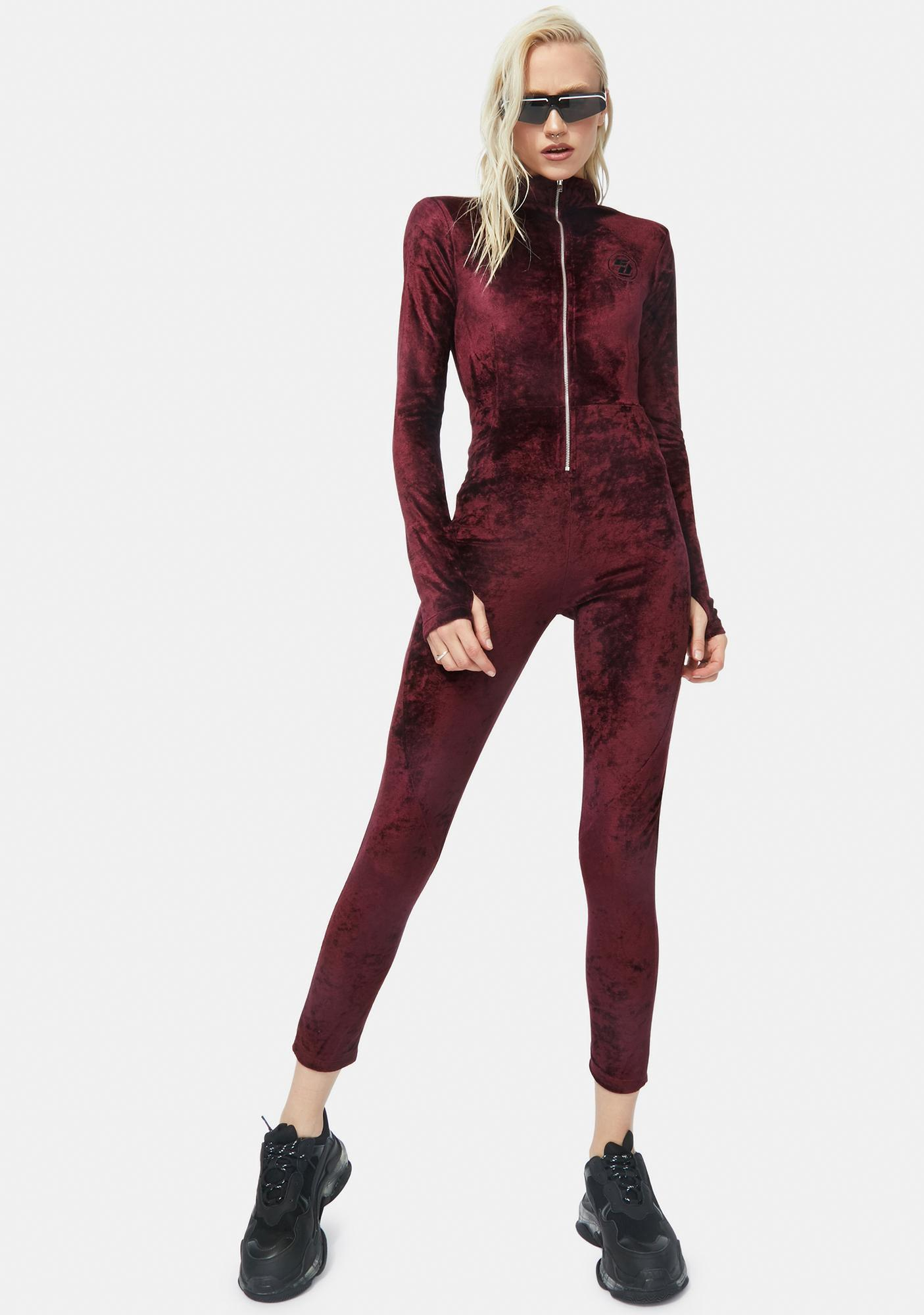 Criminal Damage Zip Thru Velvet Jumpsuit