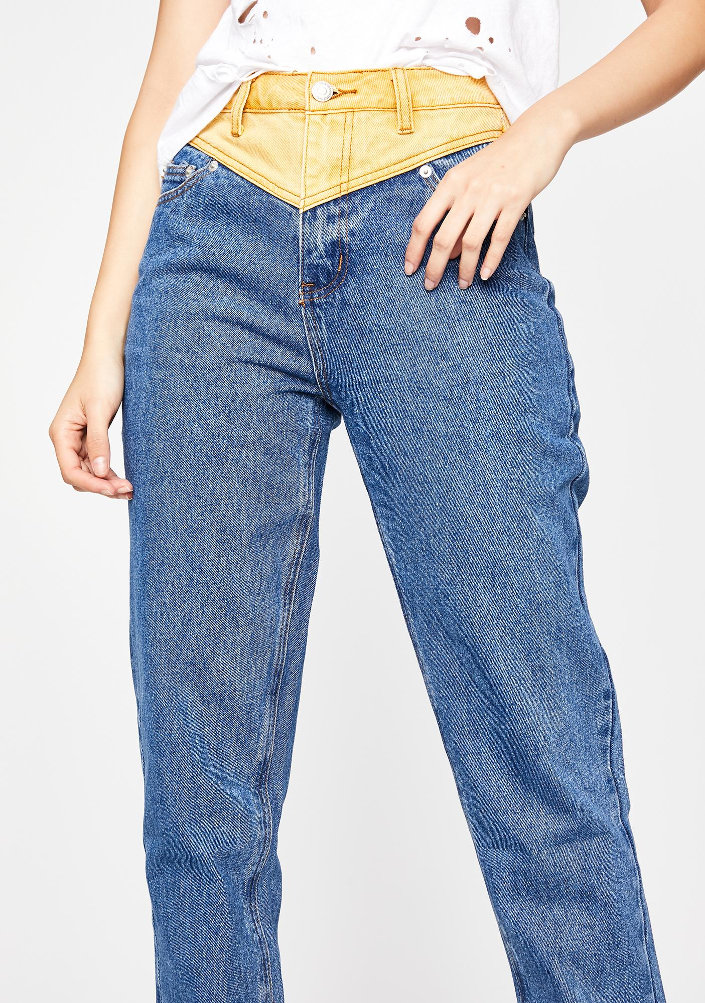 Gimme A Sign Colorblock Jeans
