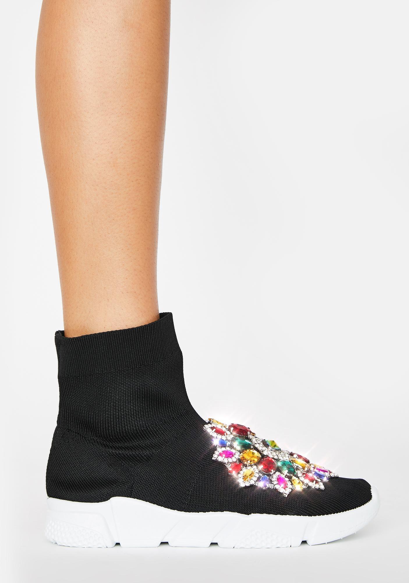 AZALEA WANG Siren Rhinestone Sock Boots