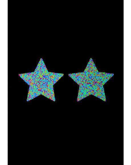 Blacklight Glitter Star Pasties