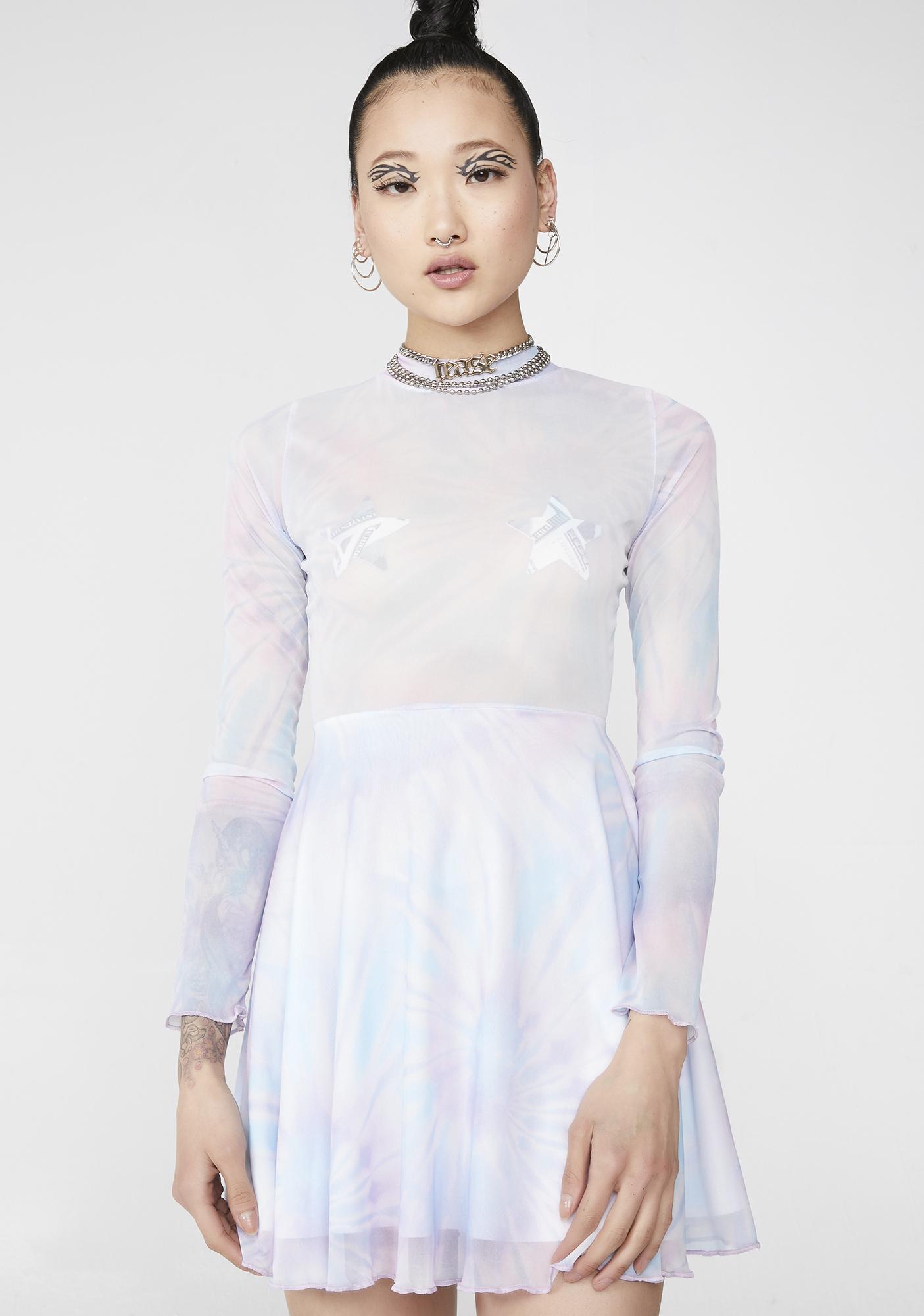 c47329670b41a8 NEW GIRL ORDER Tie Dye Mesh Skater Dress | Dolls Kill