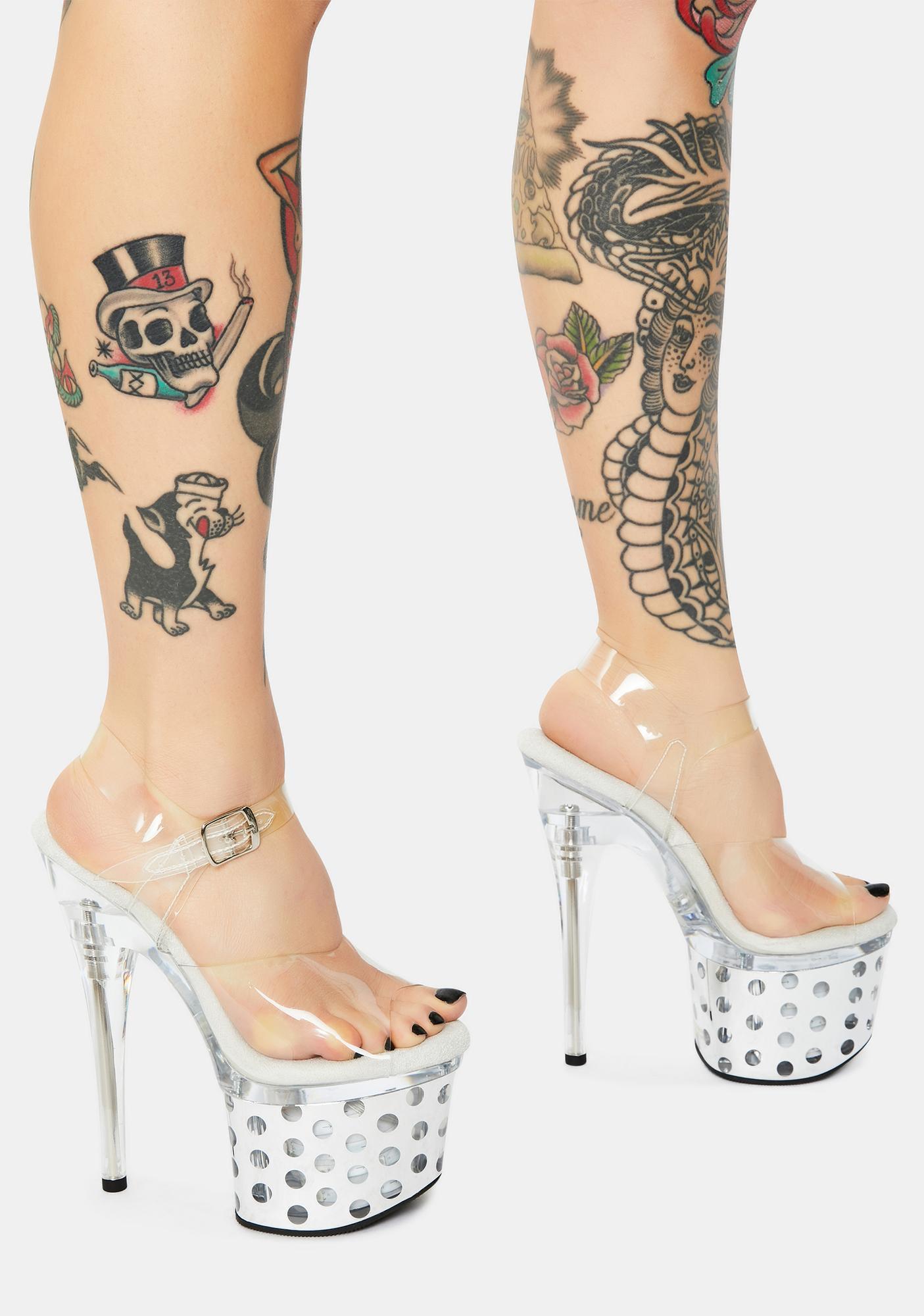 Pleaser Discolite Light Up Polka Dot Platform Heels